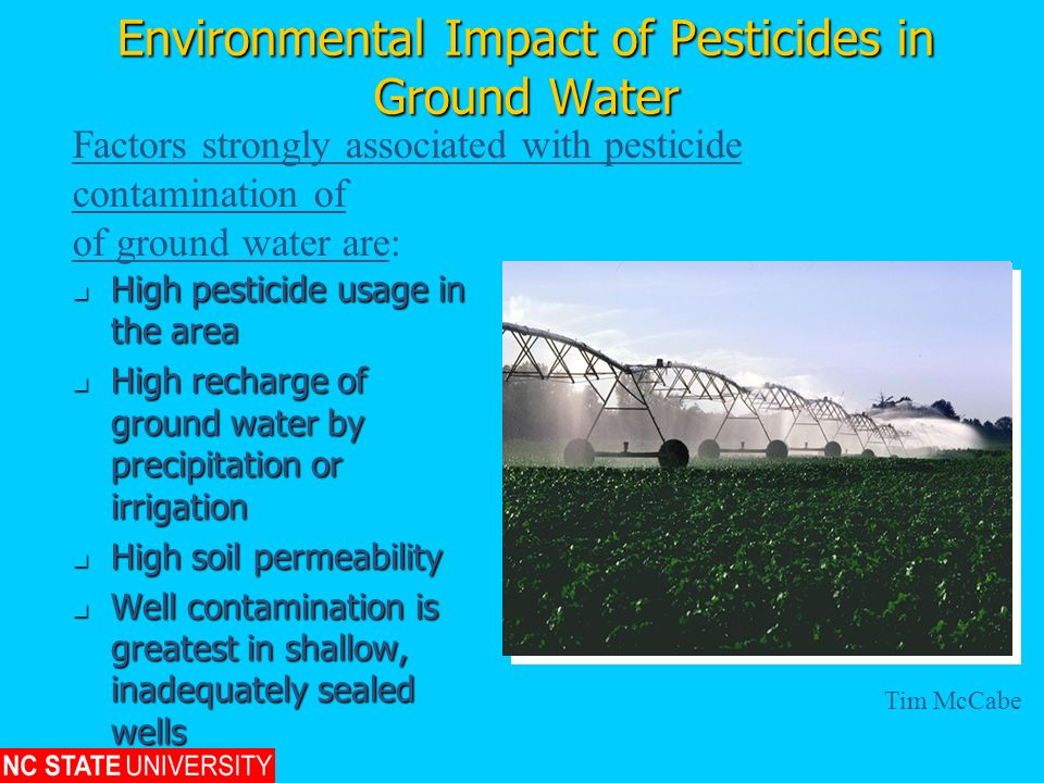 Environmental Impact of Pesticides in Ground Water High pesticide usage in the area High pesticide usage in the area High recharge of ground water by