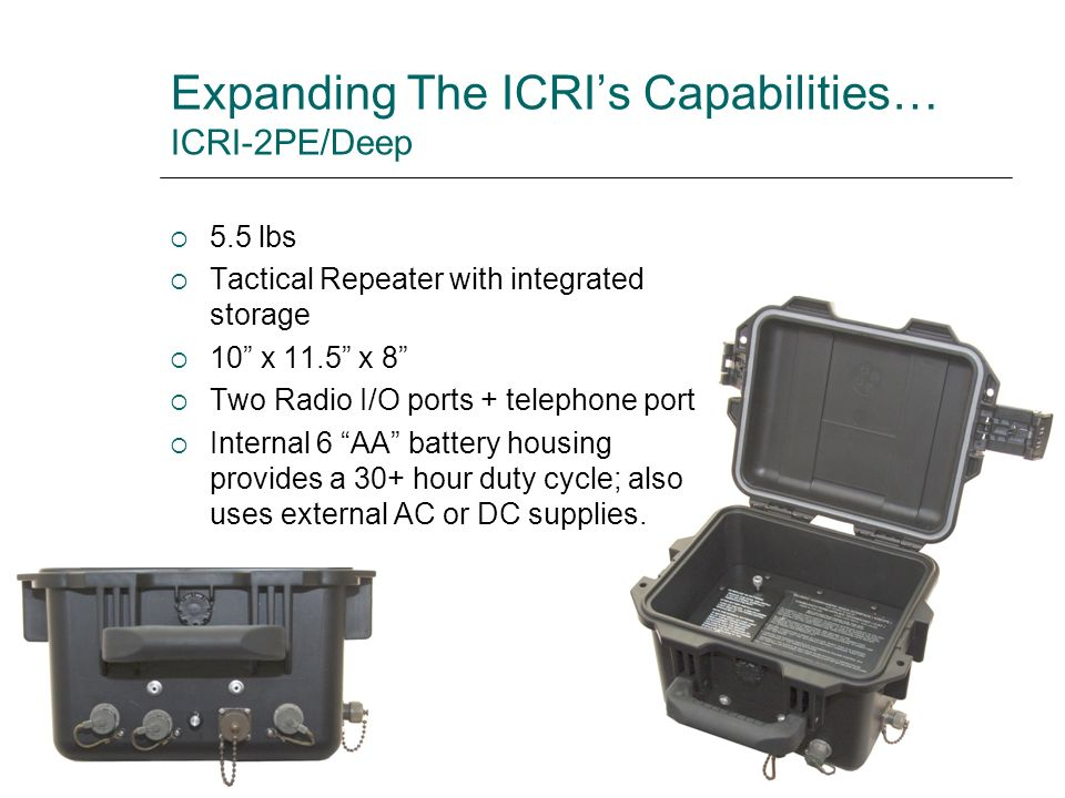 Expanding The ICRIs Capabilities… ICRI-2PE/Deep 5.5 lbs Tactical Repeater with integrated storage 10 x 11.5 x 8 Two Radio I/O ports + telephone port I