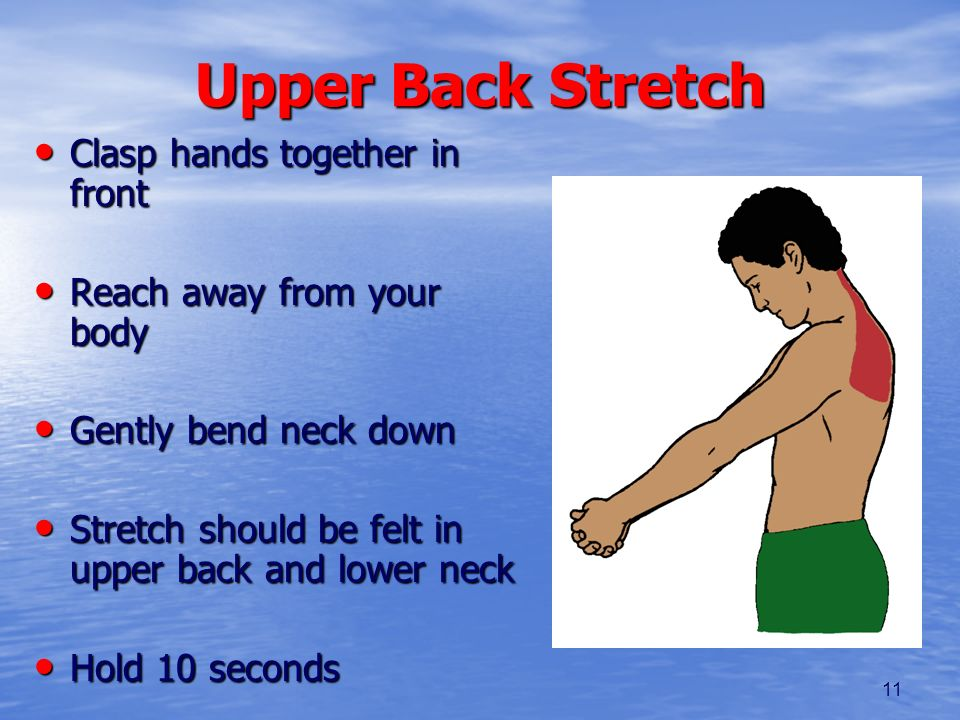 11 Upper Back Stretch Clasp hands together in front Clasp hands together in front Reach away from your body Reach away from your body Gently bend neck