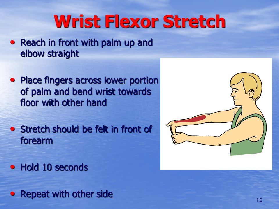 12 Wrist Flexor Stretch Reach in front with palm up and elbow straight Reach in front with palm up and elbow straight Place fingers across lower porti