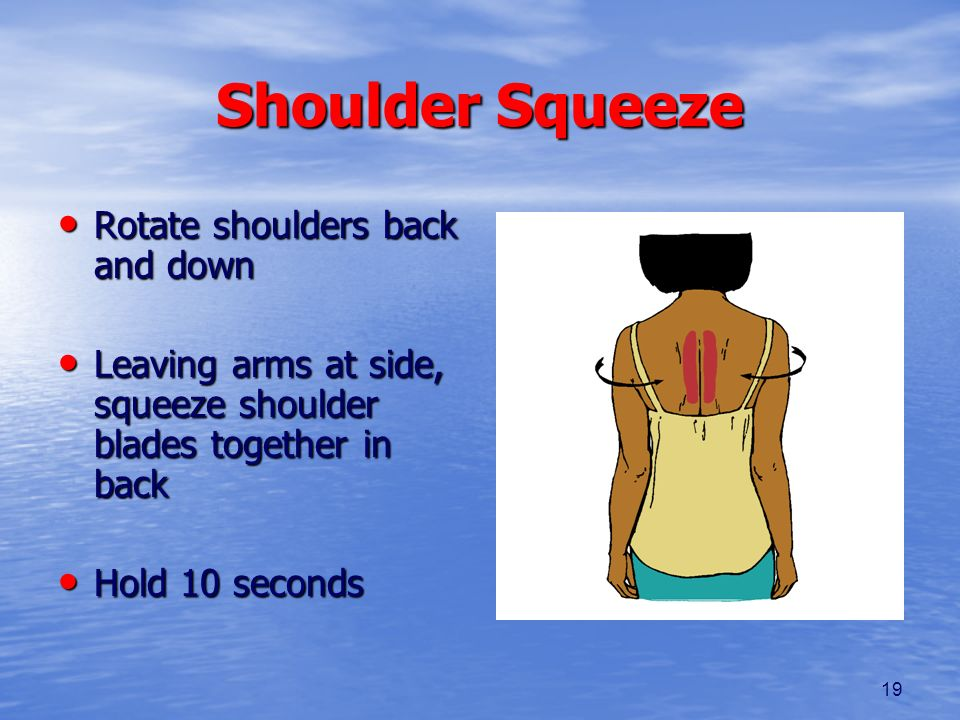 19 Shoulder Squeeze Rotate shoulders back and down Rotate shoulders back and down Leaving arms at side, squeeze shoulder blades together in back Leavi