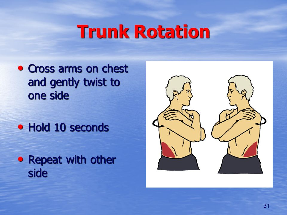 31 Trunk Rotation Cross arms on chest and gently twist to one side Cross arms on chest and gently twist to one side Hold 10 seconds Hold 10 seconds Re