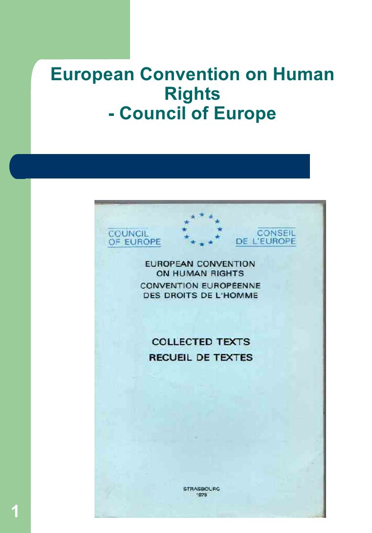 1 European Convention on Human Rights - Council of Europe