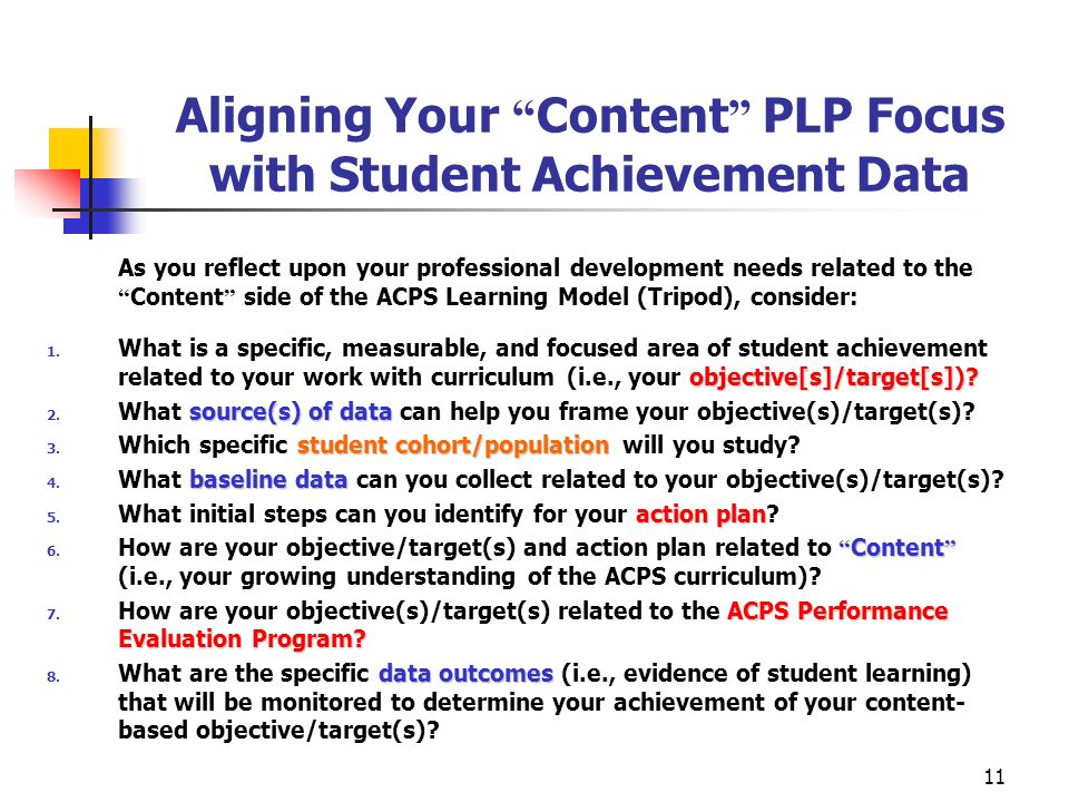 11 Aligning Your Content PLP Focus with Student Achievement Data As you reflect upon your professional development needs related to the Content side o
