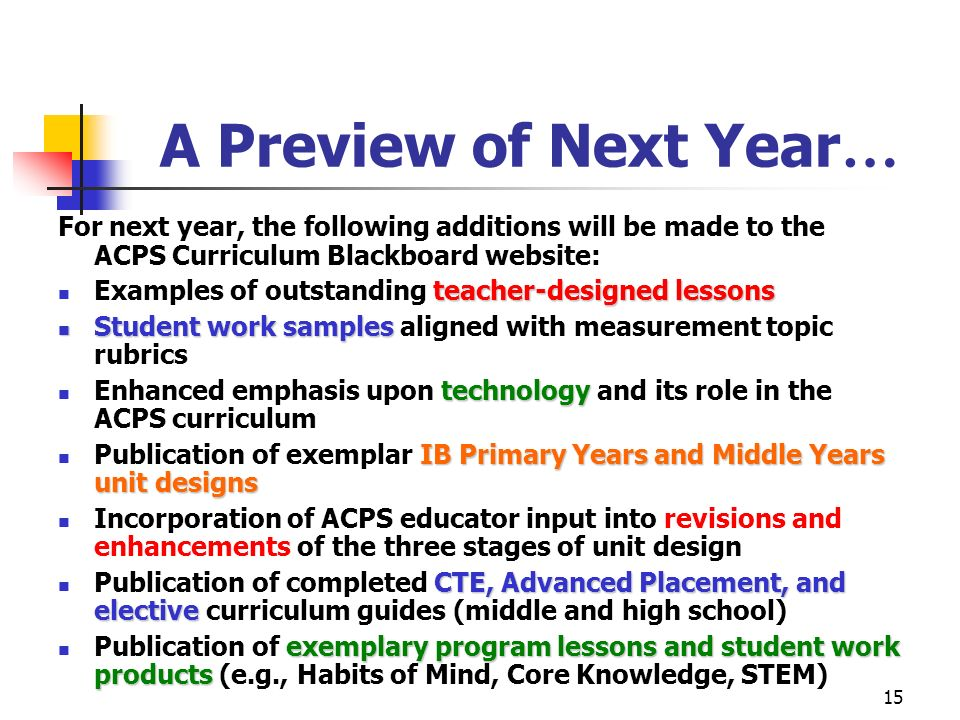 15 A Preview of Next Year … For next year, the following additions will be made to the ACPS Curriculum Blackboard website: teacher-designed lessons Ex