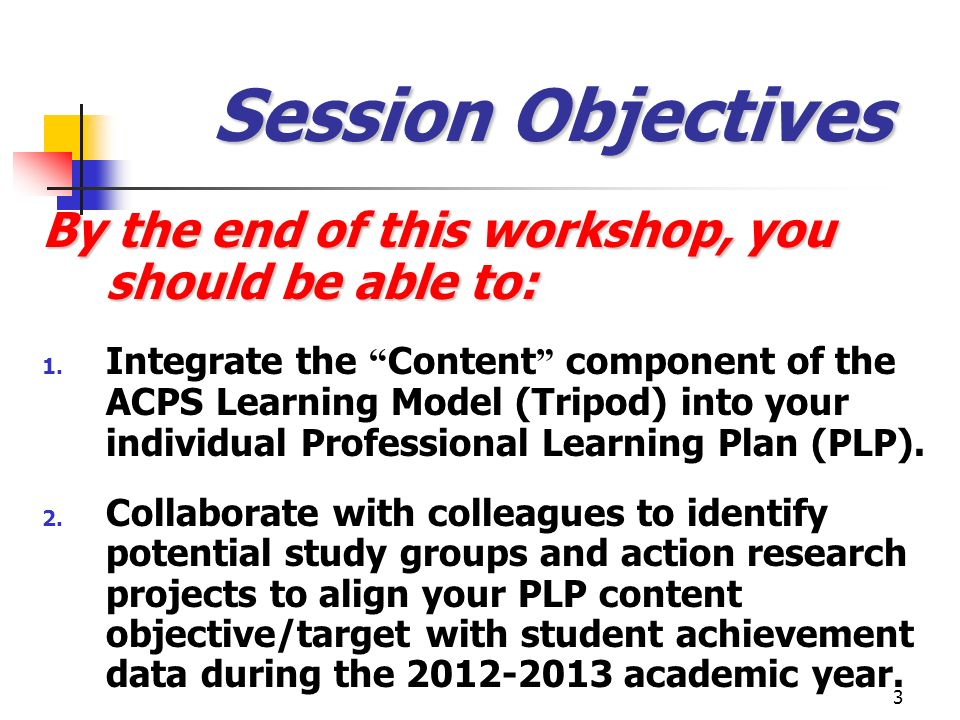 4 Our Agenda at a Glance Warm-Up Activity: Participants Reflect on Module Nine and Their Analysis of Their Own Lesson Planning Process Presentation & Discussion: Revisiting the Content Component of the ACPS Professional Learning Plan (PLP) Participant Discussion and Analysis: What Questions Do We Have About Our Curriculum and Proposed Changes for the Coming Academic Year.