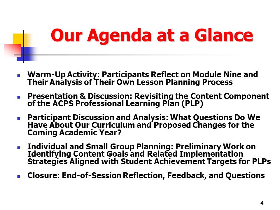 4 Our Agenda at a Glance Warm-Up Activity: Participants Reflect on Module Nine and Their Analysis of Their Own Lesson Planning Process Presentation &