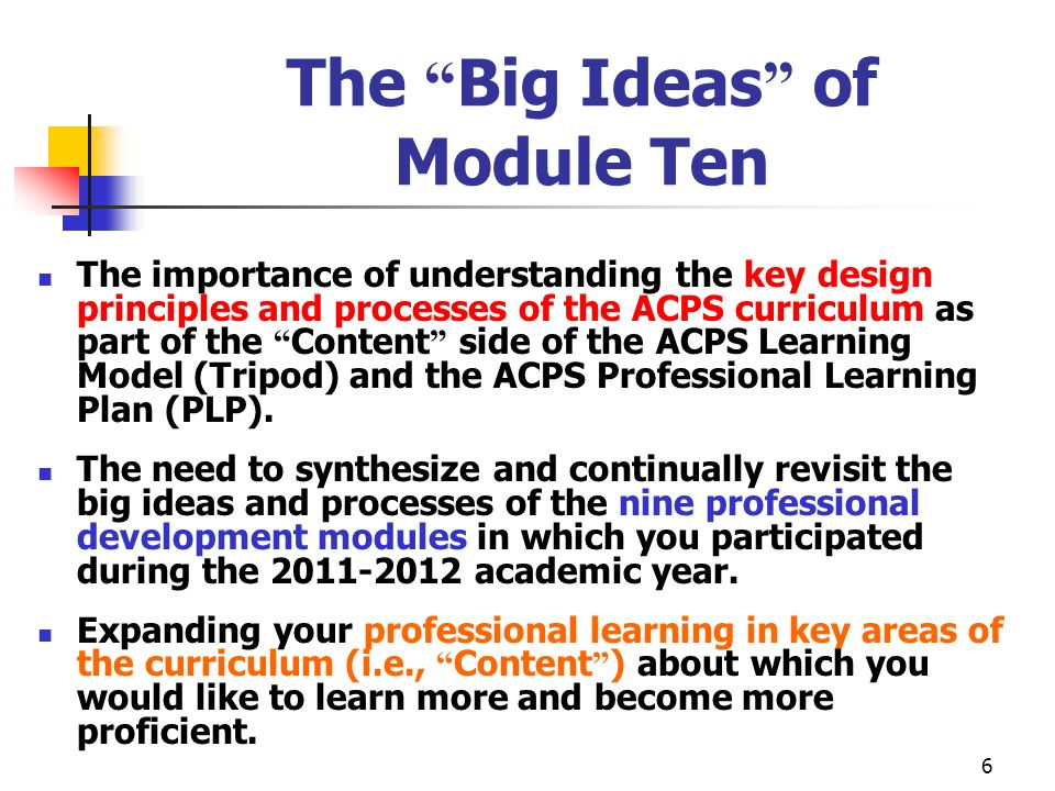 6 The Big Ideas of Module Ten The importance of understanding the key design principles and processes of the ACPS curriculum as part of the Content si