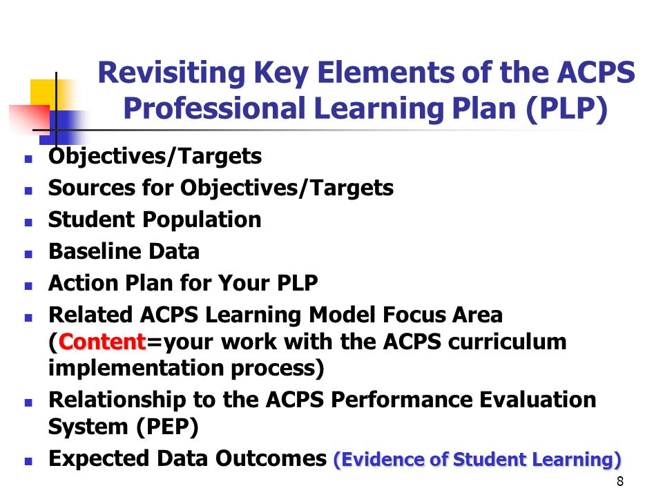 9 The Content Components of the ACPS Professional Learning Plan (PLP) How comfortable are you with the following.