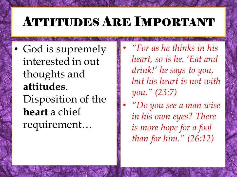 A TTITUDES A RE I MPORTANT God is supremely interested in out thoughts and attitudes. Disposition of the heart a chief requirement… For as he thinks i