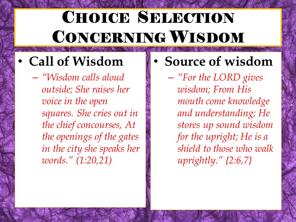 C HOICE S ELECTION C ONCERNING W ISDOM Call of Wisdom – Wisdom calls aloud outside; She raises her voice in the open squares. She cries out in the chi