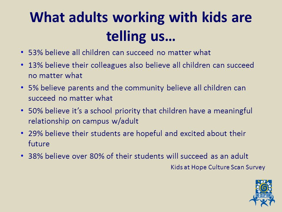 What adults working with kids are telling us… 53% believe all children can succeed no matter what 13% believe their colleagues also believe all childr