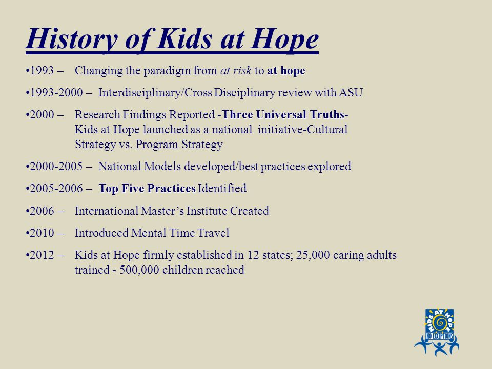 History of Kids at Hope at hope1993 – Changing the paradigm from at risk to at hope 1993-2000 – Interdisciplinary/Cross Disciplinary review with ASU T