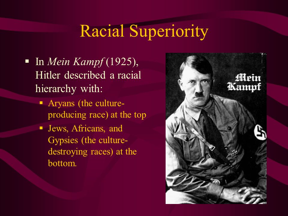 Racial Superiority In Mein Kampf (1925), Hitler described a racial hierarchy with: Aryans (the culture- producing race) at the top Jews, Africans, and Gypsies (the culture- destroying races) at the bottom.