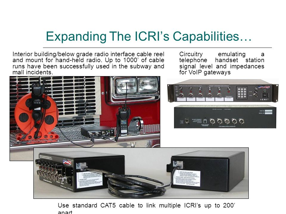 Expanding The ICRIs Capabilities… Interior building/below grade radio interface cable reel and mount for hand-held radio. Up to 1000 of cable runs hav