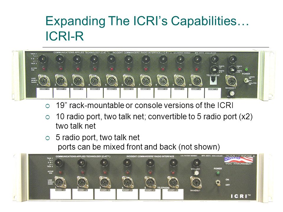 Expanding The ICRIs Capabilities… ICRI-R 19 rack-mountable or console versions of the ICRI 10 radio port, two talk net; convertible to 5 radio port (x