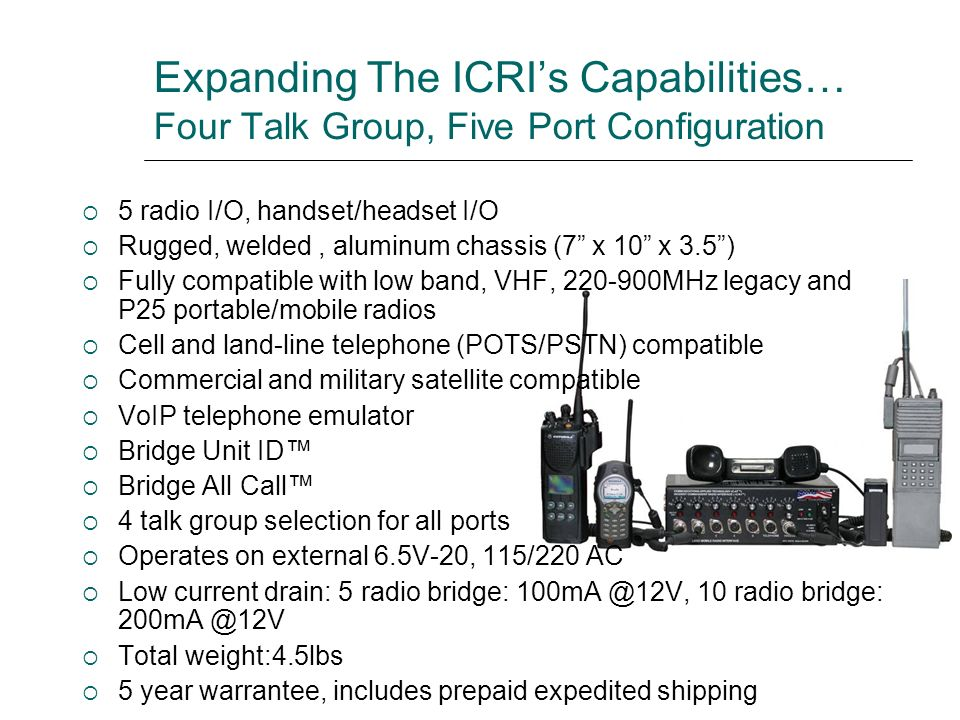Expanding The ICRIs Capabilities… Four Talk Group, Five Port Configuration 5 radio I/O, handset/headset I/O Rugged, welded, aluminum chassis (7 x 10 x