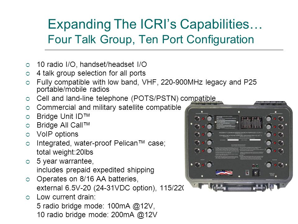 Expanding The ICRIs Capabilities… Four Talk Group, Ten Port Configuration 10 radio I/O, handset/headset I/O 4 talk group selection for all ports Fully