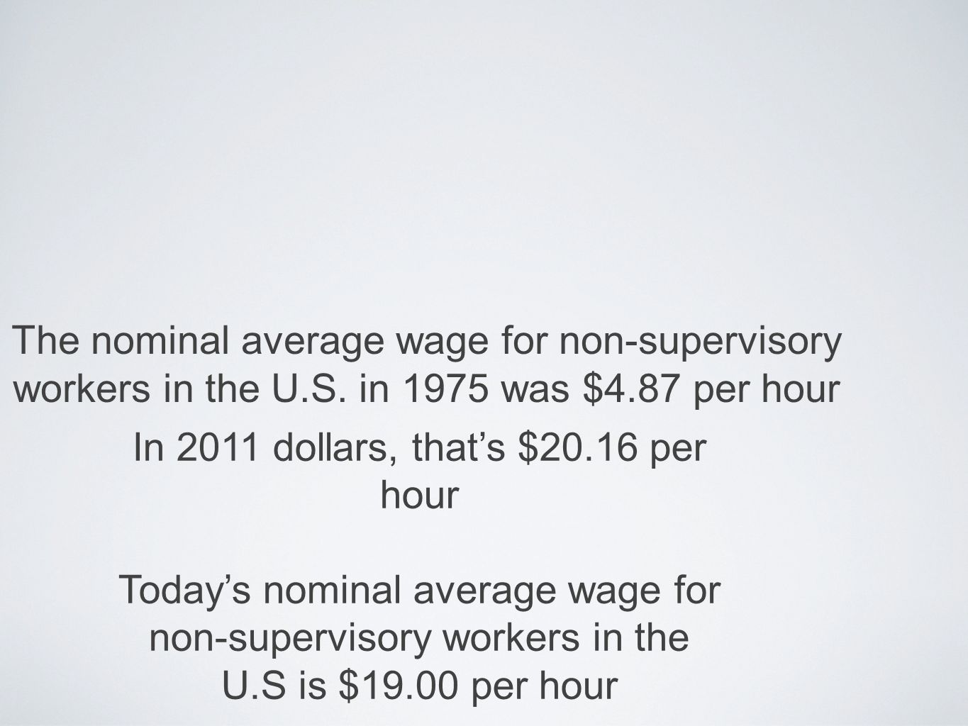 The nominal average wage for non-supervisory workers in the U.S.