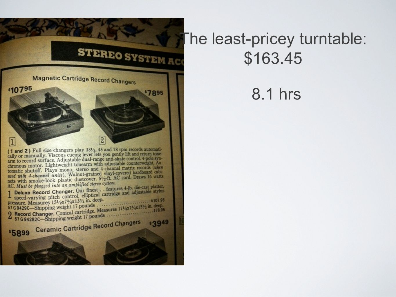 The least-pricey turntable: $163.45 8.1 hrs