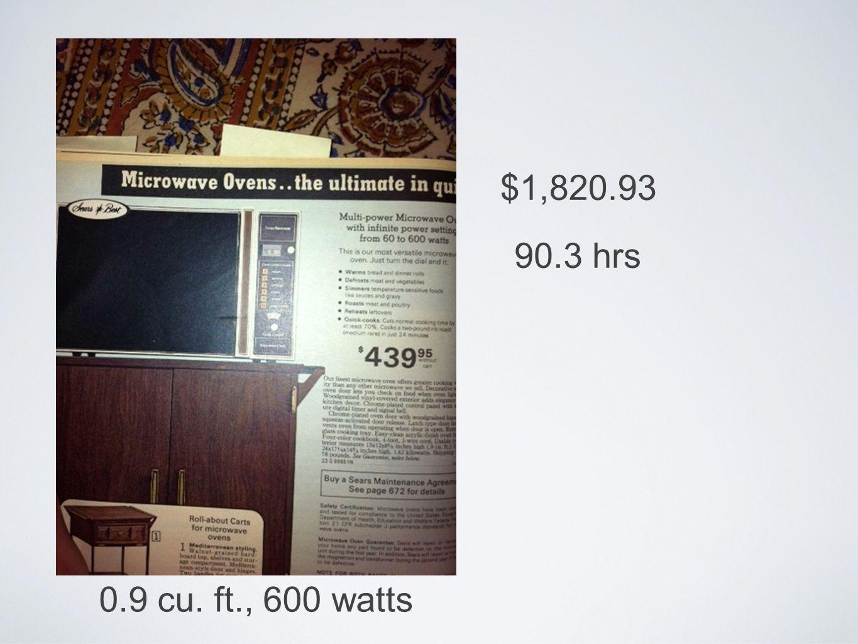 $1,820.93 90.3 hrs 0.9 cu. ft., 600 watts