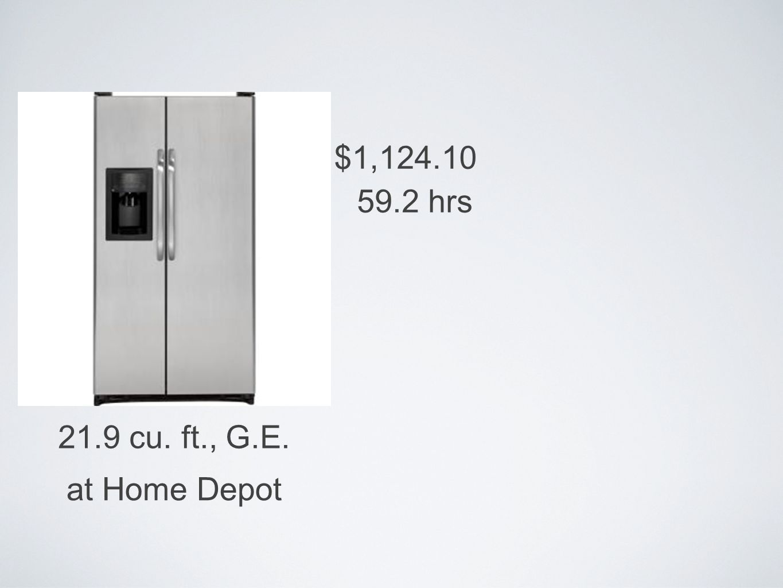 21.9 cu. ft., G.E. $1,124.10 at Home Depot 59.2 hrs
