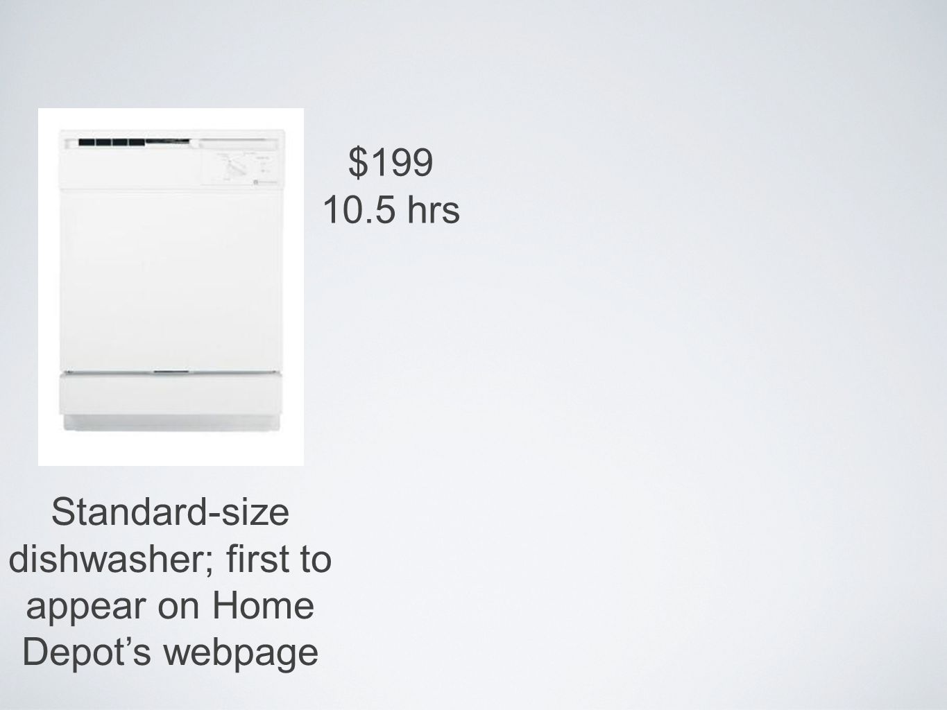 Standard-size dishwasher; first to appear on Home Depots webpage $199 10.5 hrs