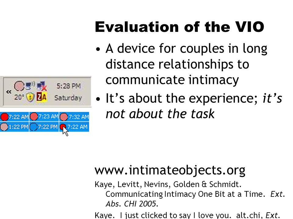 Evaluation of the VIO A device for couples in long distance relationships to communicate intimacy Its about the experience; its not about the task www