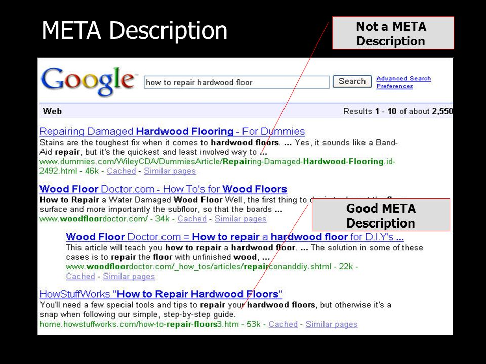 META Description Not a META Description Good META Description