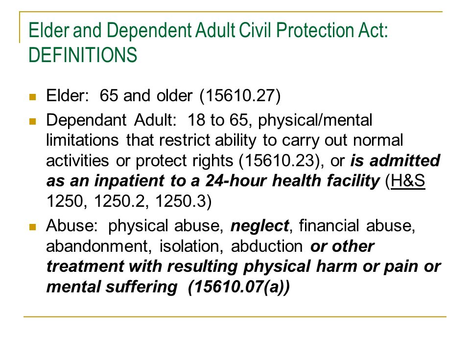 Elder and Dependent Adult Civil Protection Act: BAJIS NEW (NON-MICRA) TORT Abuse by Neglect -Negligent failure to exercise that degree of care that a reasonable person in a like position would, or -Failure to provide medical care for physical/mental health needs, or -Failure to prevent malnutrition or dehydration (BAJI 7.41, 16.25, Welfare and Institutions code section 15610.57) Professional Negligence -Have and use skill ordinarily possessed by reputable physicians in similar locality under similar circumstances, and -Use reasonable diligence and best judgment (BAJI 6.00.1) -Error in judgment not necessarily negligent (BAJI 6.02) -Alternate methods of treatment acceptable even if proven wrong (BAJI 6.03) -Jury must rely on expert testimony, including that of the defendant (BAJI 6.30)