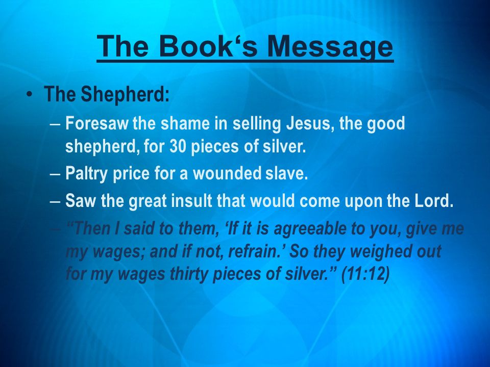 The Shepherd: – Foresaw the shame in selling Jesus, the good shepherd, for 30 pieces of silver. – Paltry price for a wounded slave. – Saw the great in