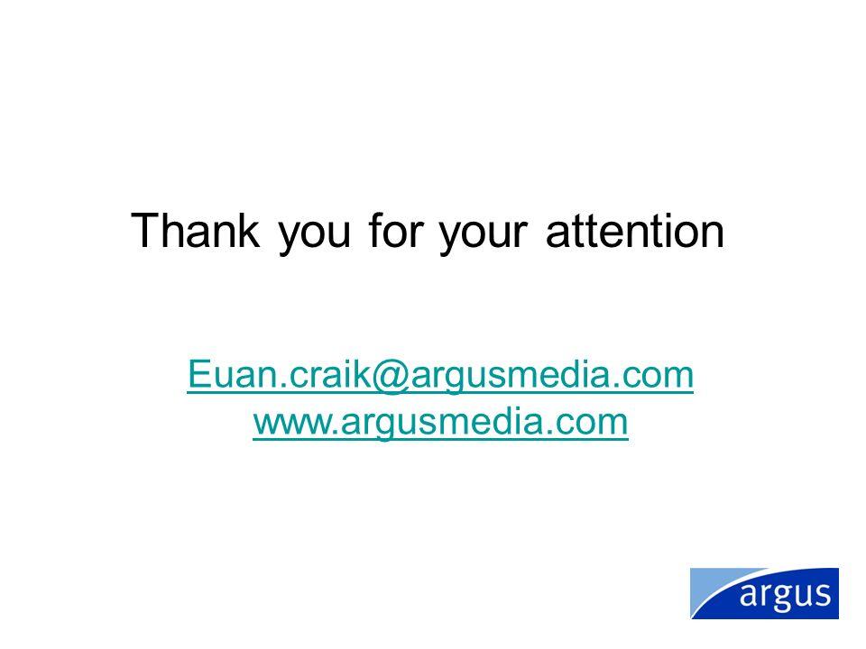Thank you for your attention Euan.craik@argusmedia.com www.argusmedia.com