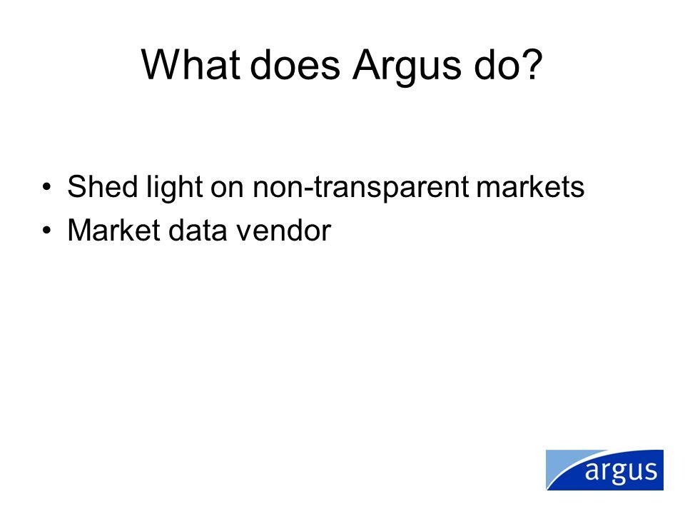 What does Argus do? Shed light on non-transparent markets Market data vendor