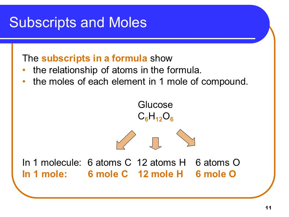 11 Subscripts and Moles The subscripts in a formula show the relationship of atoms in the formula. the moles of each element in 1 mole of compound. Gl