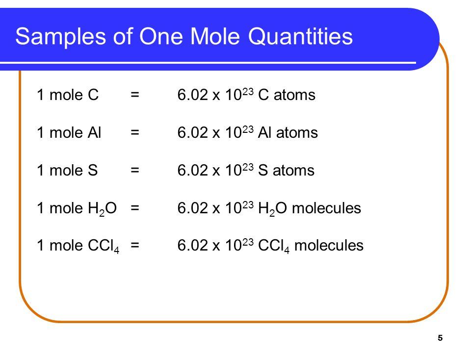 16 Chapter 10.2 Mole to Mass Relationships Molar Mass