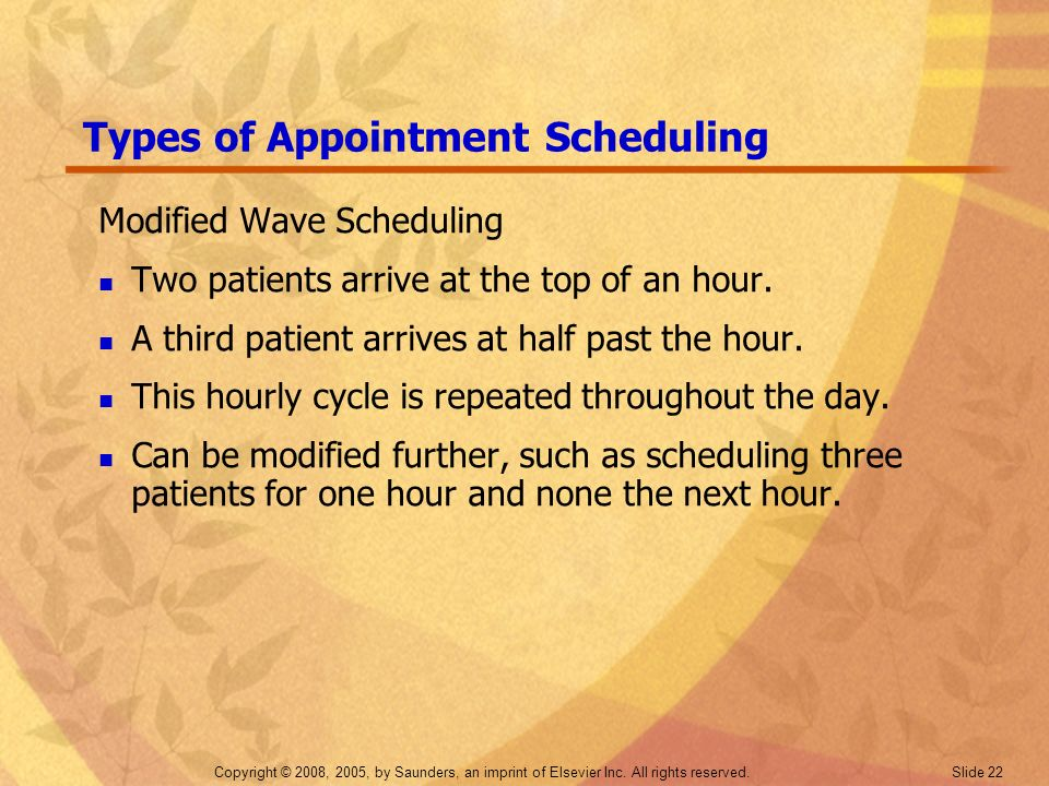 Copyright © 2008, 2005, by Saunders, an imprint of Elsevier Inc. All rights reserved. Slide 22 Types of Appointment Scheduling Modified Wave Schedulin