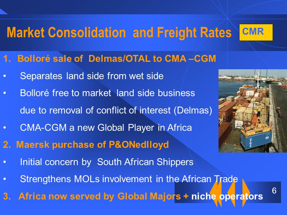 CMR 7 Market Consolidation and Freight Rates Nigerian Congestion surcharge continues Euro 600 TEU Freight rate increases still required to counter increased charter hire and bunker costs Ability to achieve increases depends on;- - Capacity demand balance.