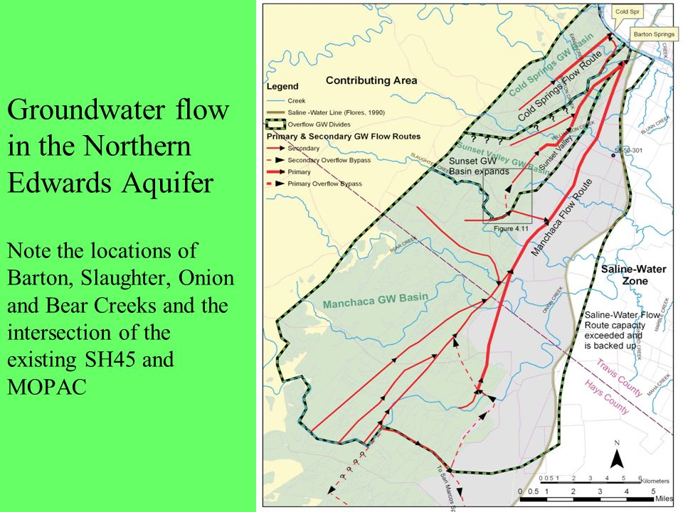 Groundwater flow in the Northern Edwards Aquifer Note the locations of Barton, Slaughter, Onion and Bear Creeks and the intersection of the existing SH45 and MOPAC