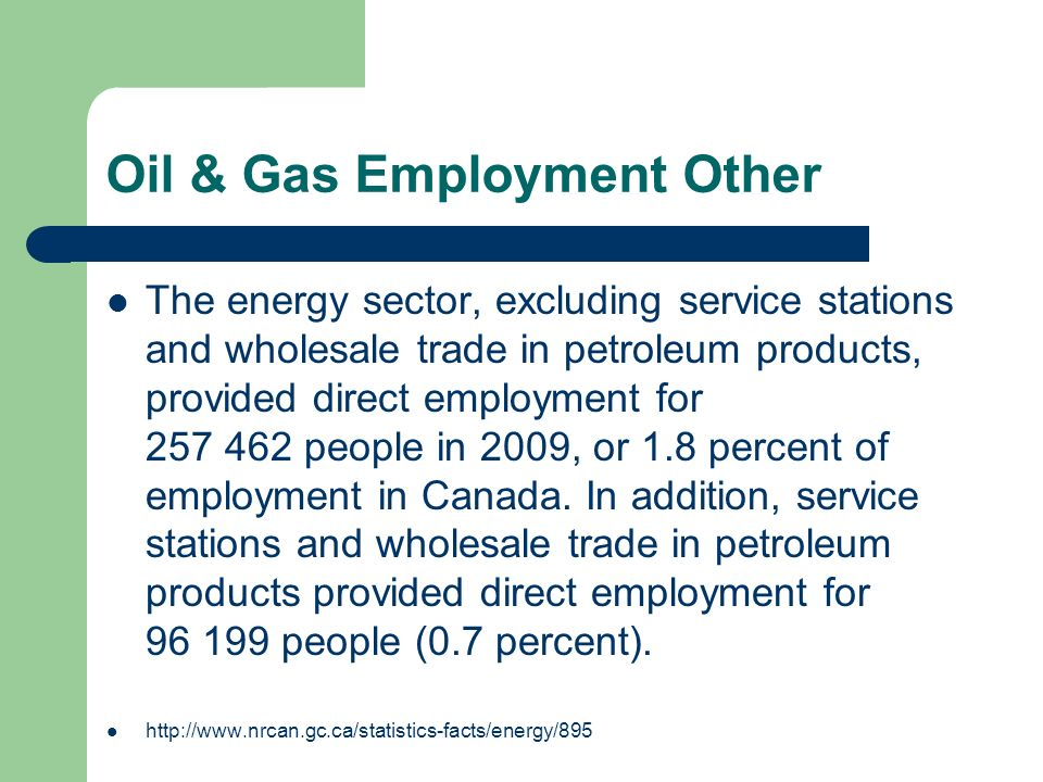 Oil & Gas Employment Other The energy sector, excluding service stations and wholesale trade in petroleum products, provided direct employment for 257