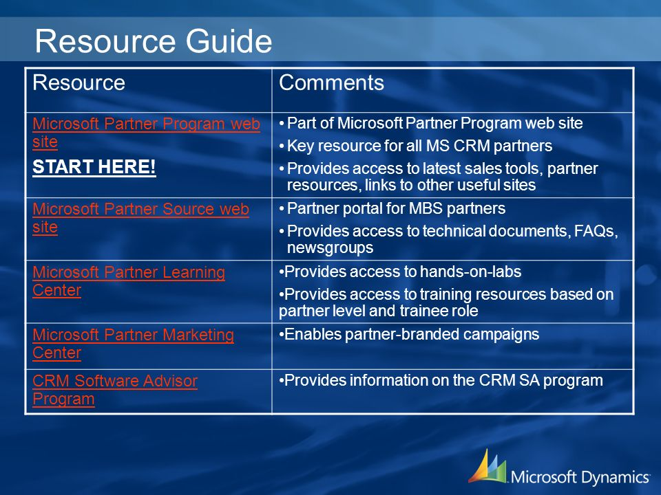 Resource Guide ResourceComments Microsoft Partner Program web site START HERE.