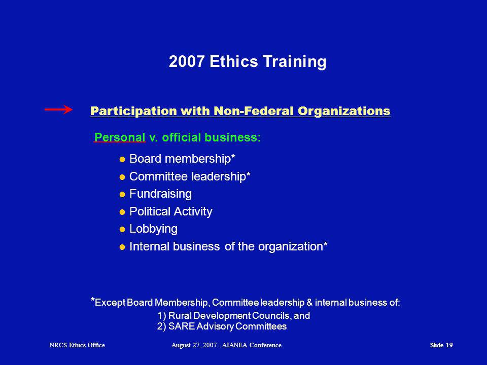 Slide 19 2007 Ethics Training Personal v.