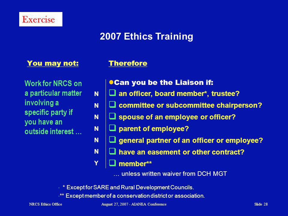 Slide Ethics Training You may not: Can you be the Liaison if: an officer, board member*, trustee.