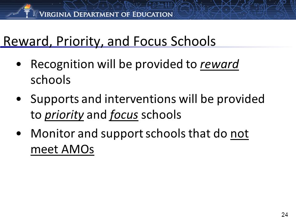 Reward, Priority, and Focus Schools Recognition will be provided to reward schools Supports and interventions will be provided to priority and focus s