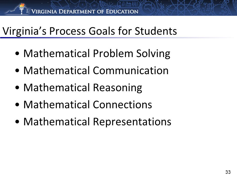 Virginias Process Goals for Students Mathematical Problem Solving Mathematical Communication Mathematical Reasoning Mathematical Connections Mathemati