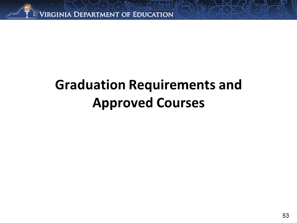 Graduation Requirements and Approved Courses 53