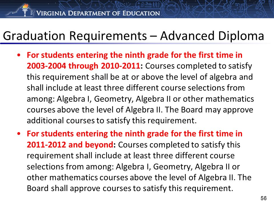 Graduation Requirements – Advanced Diploma For students entering the ninth grade for the first time in 2003-2004 through 2010-2011: Courses completed