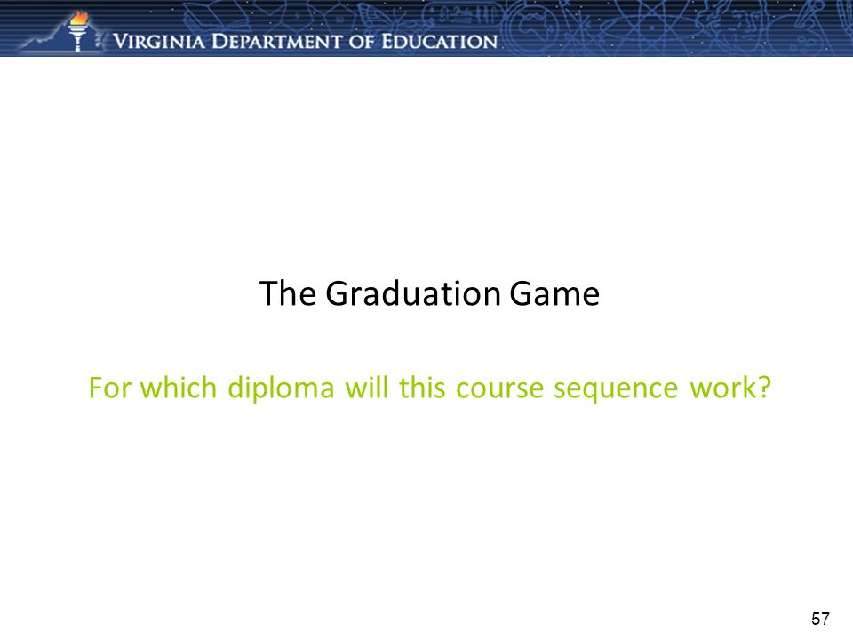57 The Graduation Game For which diploma will this course sequence work?