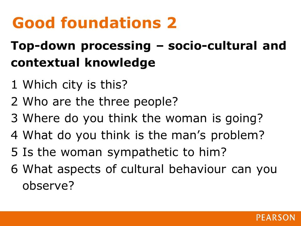 Good foundations 2 Top-down processing – socio-cultural and contextual knowledge 1 Which city is this.