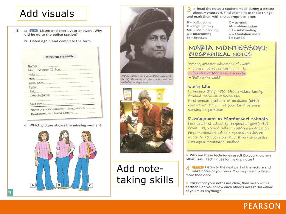 Add visuals Add note- taking skills