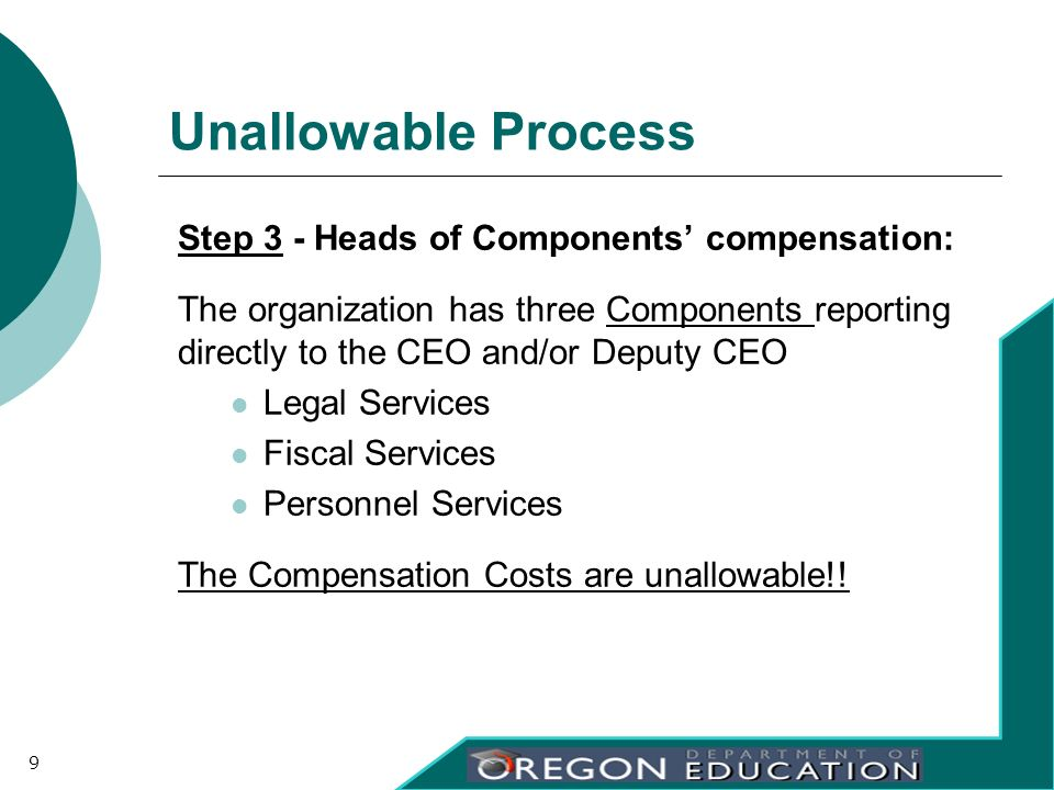 Unallowable Process Step 3 - Heads of Components compensation: The organization has three Components reporting directly to the CEO and/or Deputy CEO L
